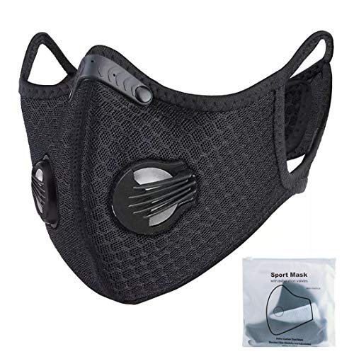 ATTICA Dust Face Mask With Filter, Washable and Reusable Sports Mask for Outdoor Activities, Cycling, Motorcycle, Running Black, 1pack