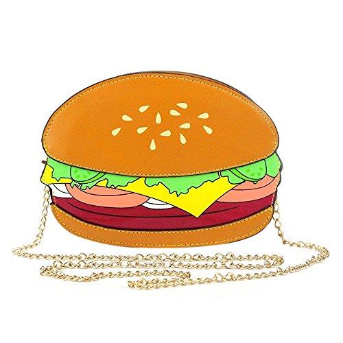 Ximimark niedliche Handtasche/Schultertasche für Damen und Mädchen, Form: Eiscreme, Hamburger, Cupcake, Pommes, Popcorn Popcorn cremefarben