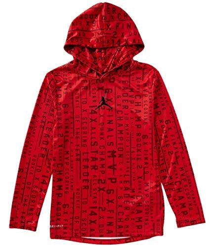 Air Jordan Long Sleeve Hoodie Youth Boys Athletic Hooded Shirt (Gym Red, M 10/12)