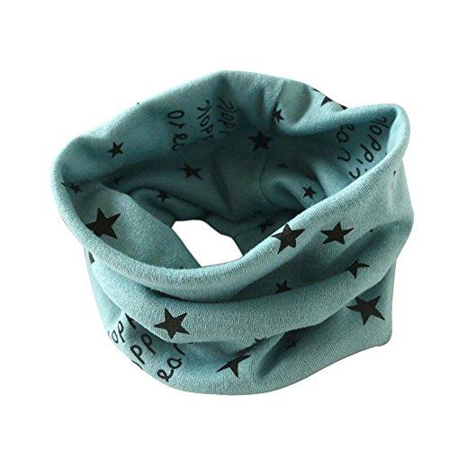 Kinder Loop Schlauchschal FORH Warm weich Baumwolle Schal Unisex Junge Mädchen Sterne muster mode Schal Winter Basic Halstuch ultraleichte Rundschal viele Bunte Farben (Grün 40 * 37cm)