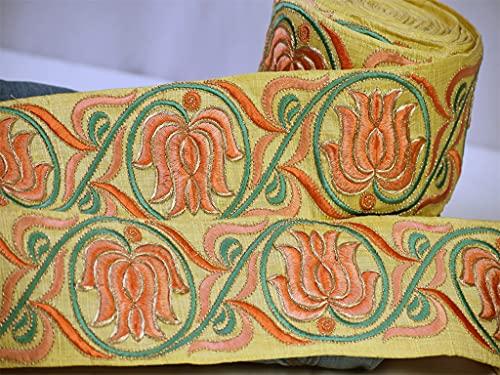 9 yardas al por mayor adorno cinturón nupcial amarillo Lotus tela Trim...