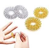 12 Stücke Massage Ring Stachelig Sensorische Fingerringe, Acupressur Ringe Stachelig Finger Massage Ring Set, Anti Stress Fingermassagering(6 Gold + 6Silber)