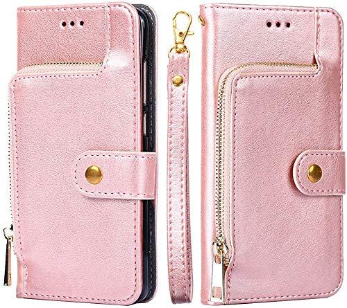 Kompatibel mit Huawei Mate 10 Lite Hülle Tasche Premium PU Leder HandyHülle Magnetische Flip Case Cover Retro Klapphülle Lederhülle mit Reißverschluss Brieftasche Schutzhülle mit Kartenfach - Rosegold
