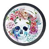 Watercolour Skull Flower Blue Kitchen Cabinet Knobs 4 Pieces Crystal Glass Drawer Pulls Dresser Drawer Knobs Hardware with Screws Drawer Handles for Home Kitchen Wardrobe Cupboard Closet Black 35mm