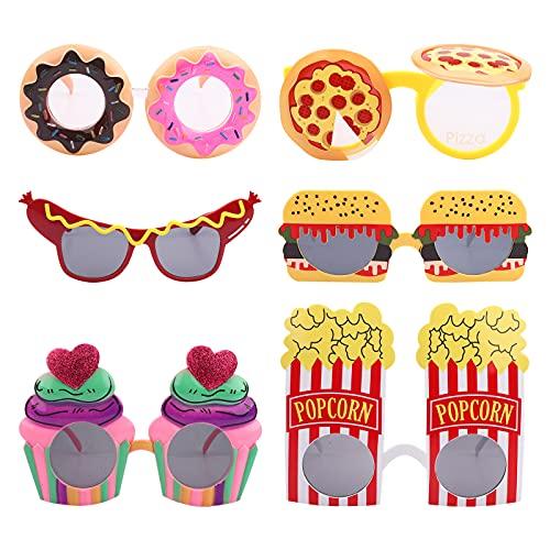 Gafas de sol de fiesta 6 pares divertidas gafas de fiesta para adultos disfraces gafas de fiesta gafas de sol tropicales accesorios para fotomatón donas palomitas de maíz pizza para fiestas hawaianas