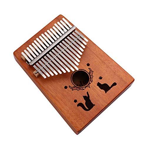 Healifty Kalimba Daumen Klavier 17 Tasten Mbira Finger Piano Tragbares Musikinstrument für Kinder Erwachsene Anfänger Katze