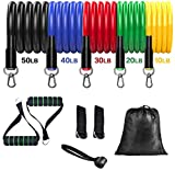 Resistance Bands Set - Exercise Bands with 5 Fitness Tubes, 2 Foam Handles, 2 Ankle Straps, Door Anchor, Carrying Pouch-Yoga - Workout Equipment for Home Workouts,Physical Therapy,Gym Training,Yoga