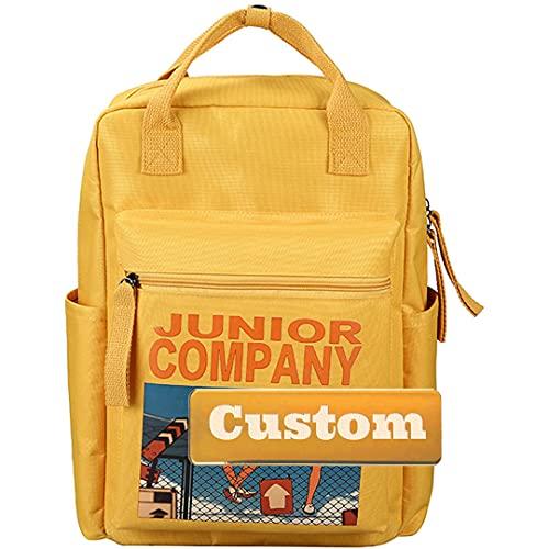 Mzhizhi personalizzato personalizzato nome casuale zaino per le donne piccolo tela college borsa uomini (colore : giallo, taglia unica)