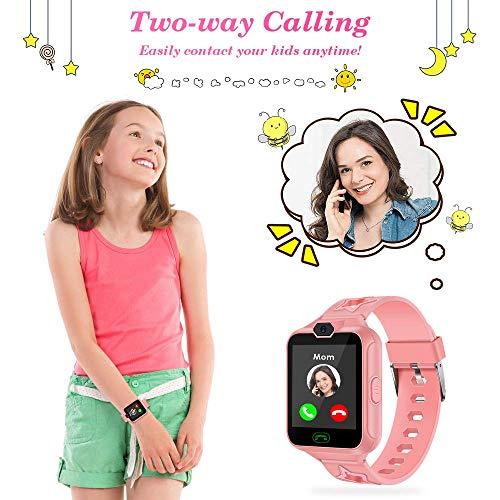 Kinder Smartwatch, AGPTEK kinderuhr Telefon Uhr, Touchscreen kidswatch Phone mit Musik Player, SOS Anruf, Kamera, 7 Spielen, Wecker für Mädchen als Geschenk, mit 8GB SD Karte, Rosa