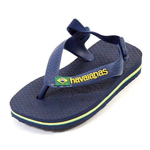 Havaianas HAV. Baby Brasil Logo, Tongs Mixte bébé, Bleu Marine/Jaune, 21