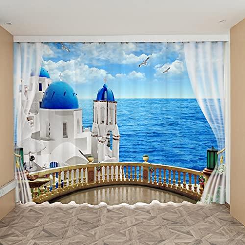 JEIBGW Tenda della docciaTenda di Paesaggio Blu del Mar Egeo Greco Luce Solare Ocean Design Ship Starfish Coastal Landscape Tende nordiche per Il Soggiorno