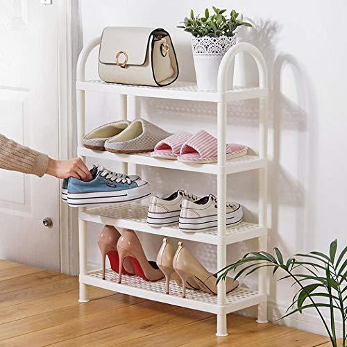 Zapatero de 2/3/4 niveles Parte inferior de plástico de almacenamiento en rack de múltiples funciones Organizador antideslizante de almacenamiento de zapatos para la entrada, pasillo, baño,4layer