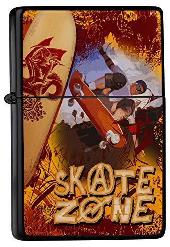 LEotiE SINCE 2004 Feuerzeug Schwarz Benzinfeuerzeug Sturmfeuerzeug Metallfeuerzeug Feuerzeug Schwarze Skateboard Skate Zone