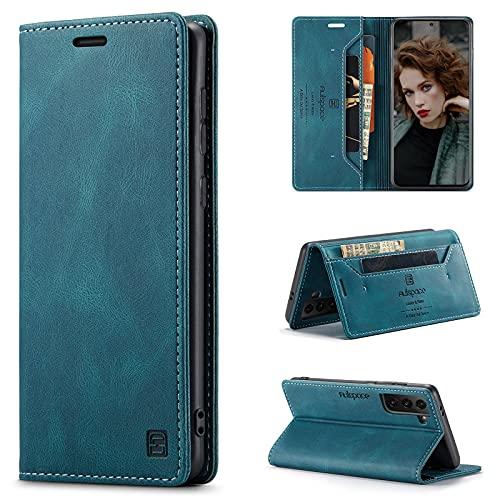 CaseNN Funda para Samsung Galaxy S21 5G Carcasa con Tarjetero Fundas Tapa Libro de Cuero PU para Mujeres Hombres Premium Magnético Suporte con Bloqueo RFID Silicona Delgado - Azul-Verde