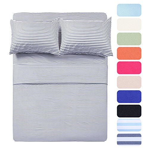 4 Piece Bed Sheet Set with 2 Pillow Cases, Navy Pinstripe/Classic Pattern Sheets - Full Size,Deep Pocket,Great Value, Ultra Soft & Breathable