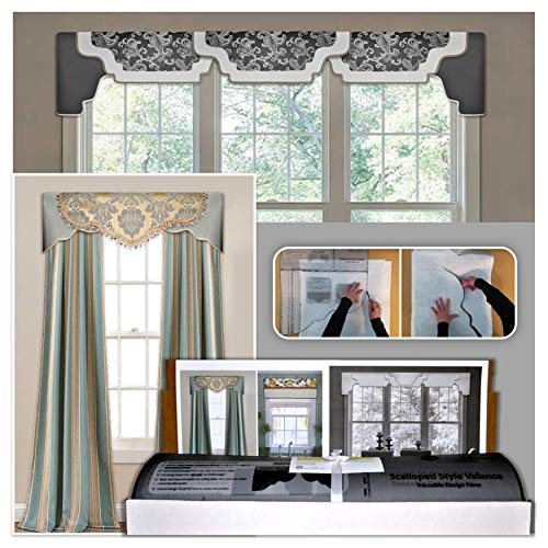 DIY Cornice Valance Kit, No Sewing, 3 Styles in One Kit, All Window Sizes, Including Bay Windows, Reusable, Pattern, No-Sew Room Decor, Bedroom, Living Room, Dining Room, Kitchen Curtain (Valance Kit)