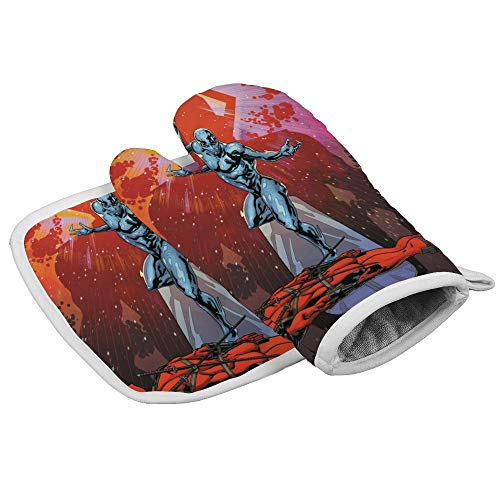 Xoees Silver Surfer Sliney Deadpool Oven Mitt and Pot Holder Set Heat-Resistant Non-Slip 2 Pieces for Baking Training School BBQ Kitchen Decoration