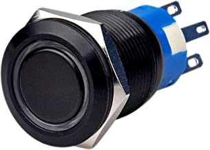 Ulincos Momentary Push Button Switch U19C3 1NO1NC Black Metal Shell with 12V Blue LED Ring Suitable for 19mm 3/4