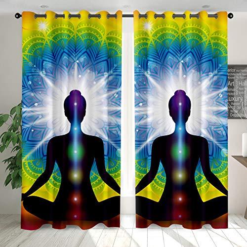 Cortinas Opacas Modernas, Sencillas Y Elegantes con Aislantes Térmicas Meditación De Yoga para Niños Y Ventanas De Salón Dormitorio Decoración 140 cm x 245 cm x 2