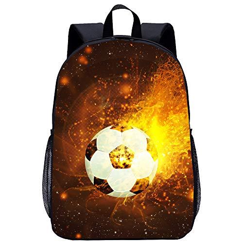 BATEKERYAS Kinderrucksack, Black Flame Football Pattern Schultasche, Spielzeugtasche, Lunch Bag, Computer Bag [ F, 45 * 14 * 31cm ]