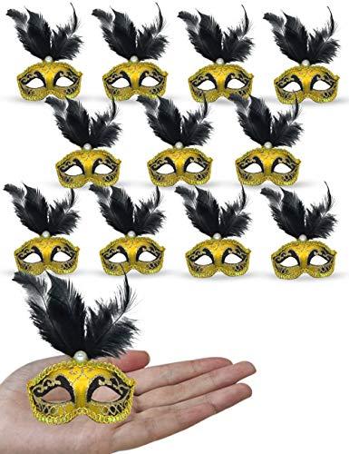 Mini Masquerade Mask Party Decorations - Yiseng 12pcs Pack Black Feather Mardi Gras Small Venetian Mask Decor Party Favors