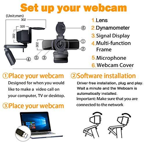 LarmTek HD Webcam 1080p mit Datenschutz Verschluss,Webcam PC, Laptop Kamera mit Mikrofon,Widescreen Videoanruf und Aufnahmeunterstützung für Konferenzen