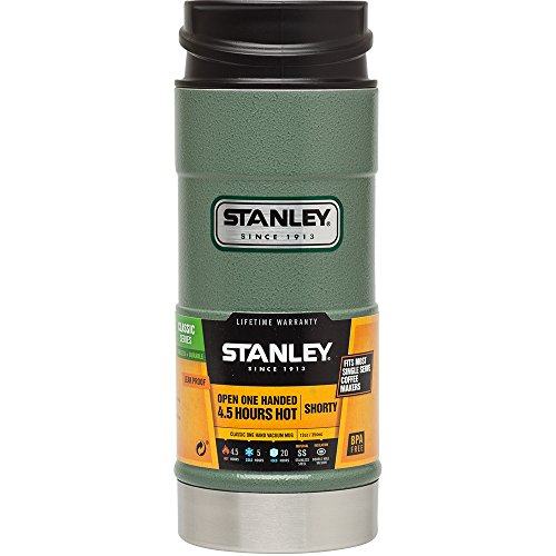 The Stanley One Hand Vacuum Mug with a promotional paper wrapped around it