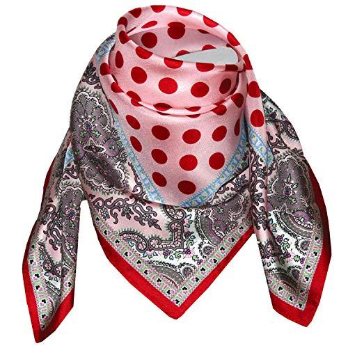 LORENZO CANA Luxus Damen Seidentuch aufwändig bedruckt Tuch 100% Seide 70 cm x 70 cm harmonische Farben Damentuch Schaltuch, Rosa, 70 x 70 cm