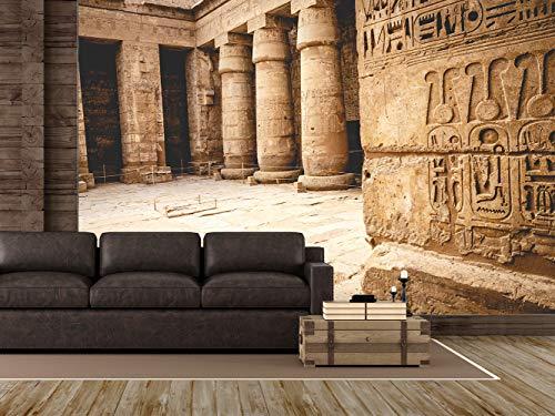 Fotomural Vinilo para Pared Templo de Medinet Habu Egipto | Fotomural para Paredes | Mural | Vinilo Decorativo | Varias Medidas 150 x 100 cm | Decoración comedores, Salones, Habitaciones.