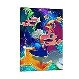 Super Mario Art - Papel pintado para sala de juegos, decoración de la sala de juegos, impresiones en lienzo, decoración de pared familiar, decoración de dormitorio de restaurante, 50 x 75 cm
