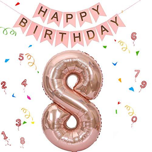 Folienballon Zahl in Roségold,Luftballon Zahlen,Riesige Folienballon,Zahl Geburtstagsdeko,Geburtstag Dekoration bunt,Folienballon im Zahlen-Design,Party Supplies Folienballon im Zahlen-Design (8)