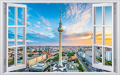 DesFoli Berlin Fernsehturm 3D Look Wandtattoo 70 x 115 cm Wanddurchbruch Wandbild Sticker Aufkleber F278