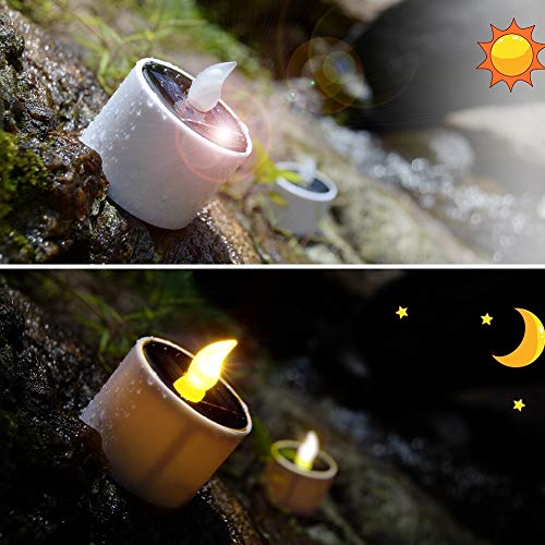 6pcs Solar Tea Lights, PChero Waterproof Rechargeable LED Flameless Tealight Candles with Dusk to Dawn Light Sensor for Lantern Window Outdoor Camping Emergency Home Decor