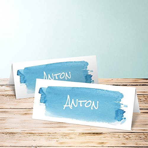 Tischkarten Vintage, Günther 10 Karten, Horizontale Klappkarte 100x38, Blau