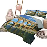 Landscape Soft Microfiber Bed Sheets Bedding 3-Piece King Bed Sheets Set, Ancient Roman Heritage Wall Southern France Architectural Historical Landmark Comfortable Hotel Bedding Blue Green Tan