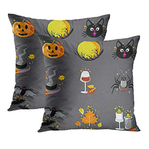 Y·JIANG Halloween Grey Cat Cushion Cover, Autumn Bat Black Cat Candle Candles Cartoon Catalog Ghost Gray Pumpkin Soft Velvet Cushion Case Couch Cover Pillowcase for Sofa Chair Bedroom, 16' x 16', 2PCS
