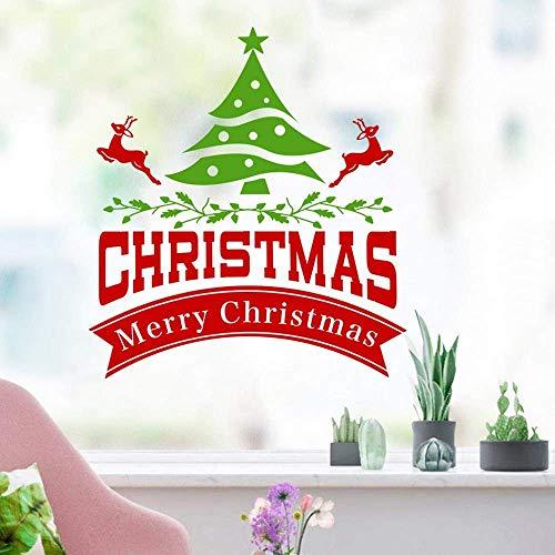 Dljyy Ventana de la Navidad del Fondo del sofá de la Sala Tienda Dormitorio Pared Pegatinas Impresión Etiquetas engomadas desprendibles de la Pared de Navidad Personalizadas