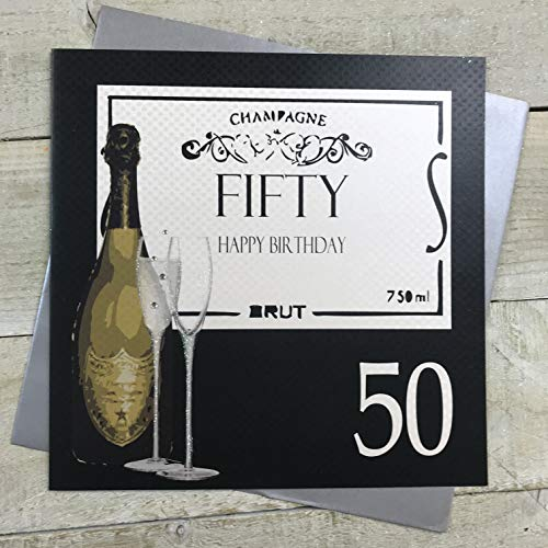 Hand Finished 50th Birthday Card with Champagne Theme, sparkling glitter and diamantes