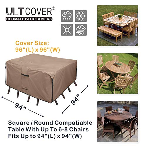 ULTCOVER Square Patio Heavy Duty Table Cover - 600D Tough Canvas Waterproof Outdoor Dining Table and Chairs General Purpose Furniture Cover 94 inch