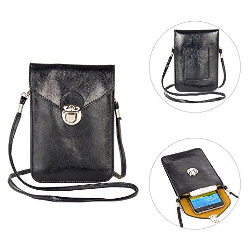 Moon mood Handy Umhängetasche Schwarz, 6.3 Zoll Premium PU Leder Ölhaut Doppelschicht Universal Handytasche zum Kleine Tasche für Frauen Mädchen Kinder iPhone X 8 Plus 7 Plus 6 6S Galaxy S8 S8 Plus