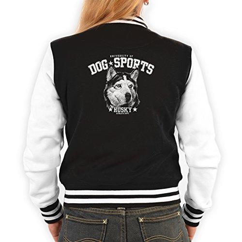 Goodman Design Husky Motiv Damen Jacke - Hunderassen College Jacke : Husky - Hundemotiv Jacke Frauen Farbe: schwarz Gr: XL