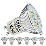 EACLL Ampoules LED GU10 Blanc Froid Source de lumière 6W 6000K 695 Lumens, Équivalent incandescence halogène 60W. 120 ° Large Faisceau, AC 230V Spots à Réflecteur Sans Scintillement, Lot de 6