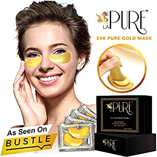 LA PURE 24K Gold Eye Treatment Masks - Under Eye Patches, Dark Circles Under Eye Treatment, Under Eye Bags Treatment, Eye Mask for Puffy Eyes, Anti-Wrinkle, Undereye Dark Circles 15 Pairs (Pack of 1)