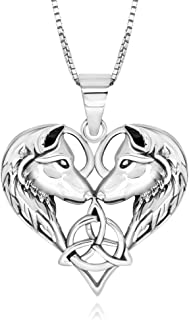 925 Sterling Silver Celtic Love Couple Wolf Heart Pendant Necklace 18
