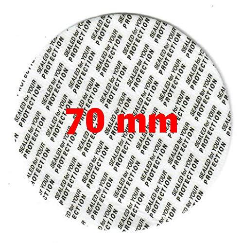 100 Stück Sicherheitssiegel 70mm Durchmesser (Sicherheitsverschluss - Versiegelungsscheibe - Sicherheitsfolie) für alle Standardgrößen (Dosen, Gläser, Tiegel, Flaschen, Kaspelbehälter und dergleichen)