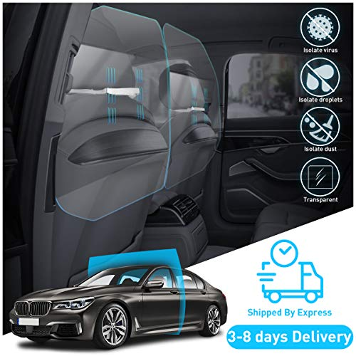 KFZMAN Car Taxi Acrylic Partition Isolation Shield, Auto Car Sneeze Guard Partition Cover Interior Between First Row and Second Row, Perfect for Sedan, Suvs, Taxis, Rideshare Cars, Transparent
