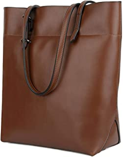 YALUXE Women's Large Capacity Leather Work Tote Zipper Closure Shoulder Bag Tall Brown