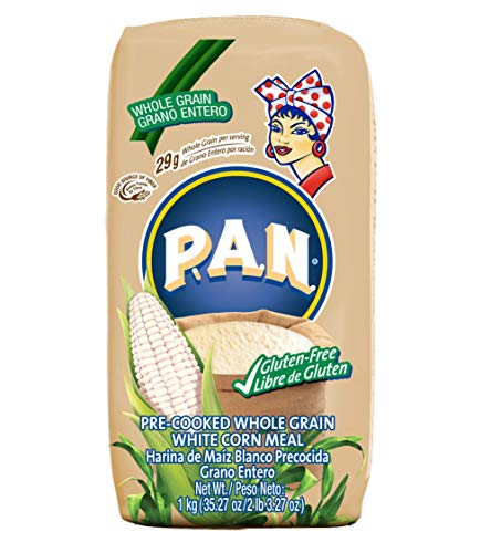 P.A.N. Whole Grain White Corn Meal – Pre-cooked Gluten Free and Kosher Flour for Arepas, Low in Sodium and Cholesterol, 1 Kilogram (35.27 Ounces / 2 Pounds 3.27 Ounces)