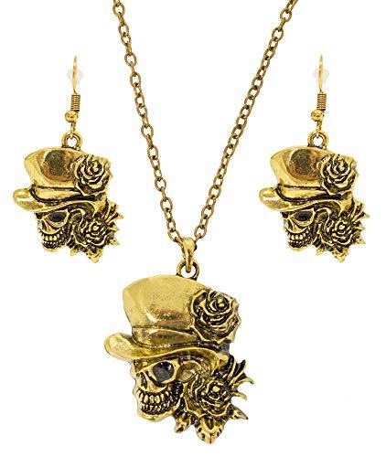 Das Kostümland Day of The Dead Halskette mit Ohrringen - Gold - Trendiger Schmuck zum Piraten Kostüm für Halloween, Karneval und Mottoparty