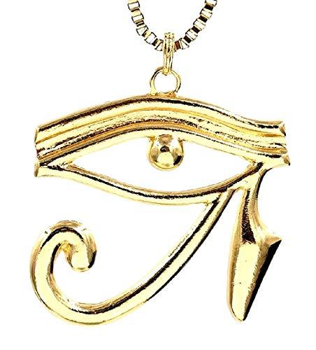 Lovelegis Collana da Donna - Occhio - Horus - Ra - Egitto - Egiziana - Grande - Colore Oro